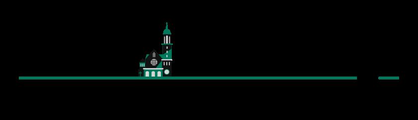 Logo zawierające nazwę Parafi oraz grafikę frontu kościoła